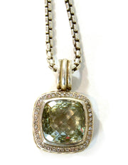 David Yurman Sterling Prasiolite & Diamond 14mm Albion Pendant Necklace