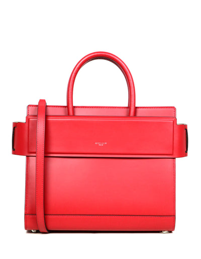 Givenchy Red Smooth Leather Small Horizon Satchel Bag w/ Strap