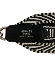 Hermes 2018 Black/White Toile Canvas Noir Leather Sangle Cavale 50mm Bag Strap