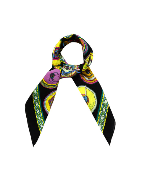 "Hermes Black Multicolor ""Belles du Mexique"" 70cm Cotton Scarf"
