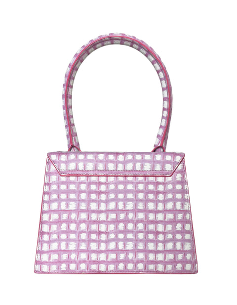 JACQUEMUS Pink Gingham Le Grand Chiquito Tote Bag w/ Crossbody Strap