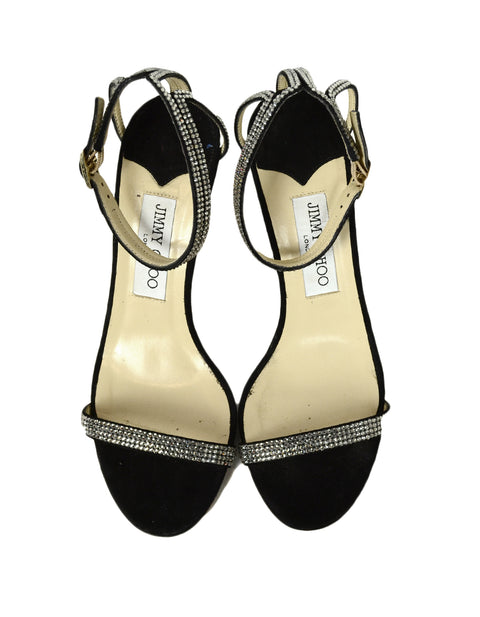 Jimmy Choo Black Strappy High Heel Rhinestone Sandals sz 37.5