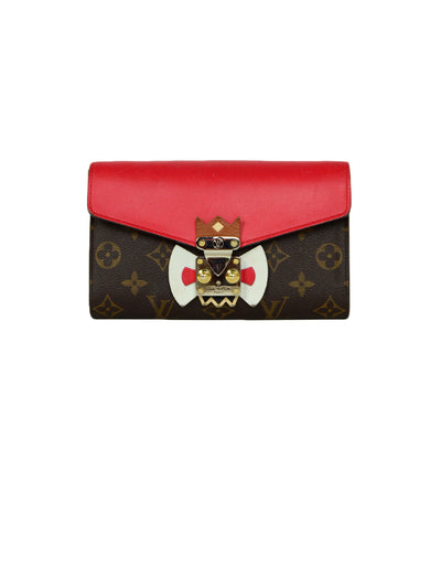Louis Vuitton Red Monogram Leather Tribal Mask Wallet