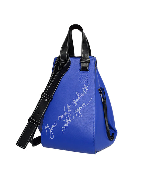 Loewe Blue Leather Can't Take It Small Hammock Bag