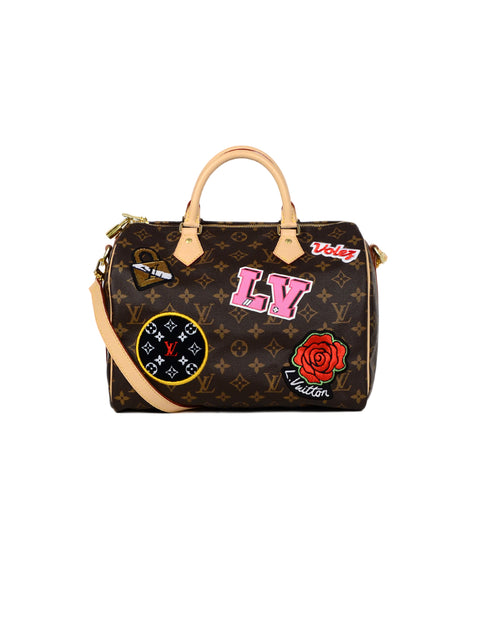 Louis Vuitton 2018 Coated Canvas Monogram Stories Speedy Bandouliere 30 Patchwork Bag