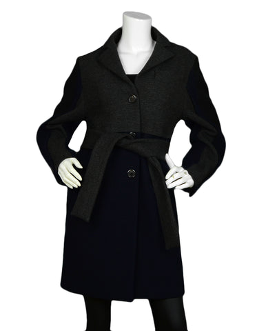 Louis Vuitton Navy & Grey Wool Coat with Belt sz 36