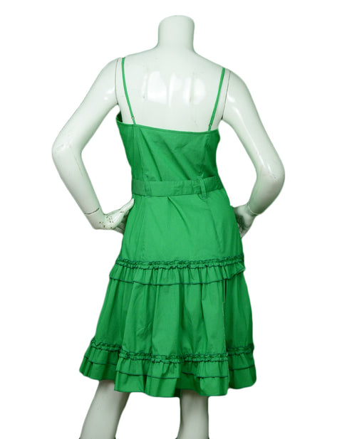 Moschino Green Spaghetti Strap Dress w/ Ruffle & Belt sz 10
