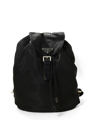 Prada Black Nylon Buckle Backpack Bag