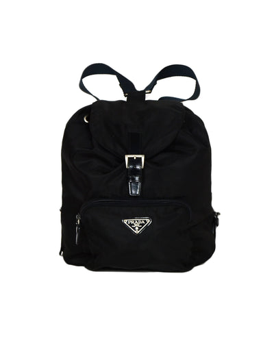 Prada (no31) Black Nylon Backpack Bag with Front Zipper Pocket