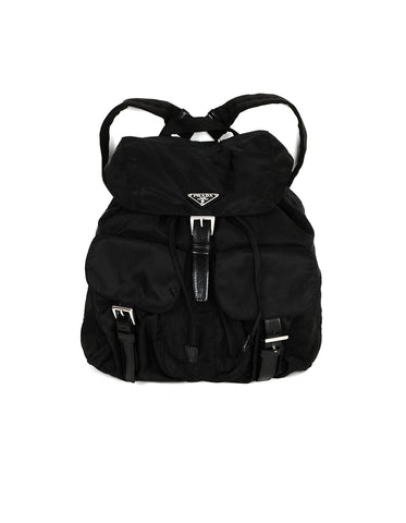 Prada Black Nylon Backpack w/ Front Buckle Pockets