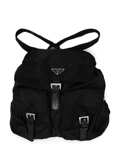 Prada Black Nylon Double Buckle Backpack Bag