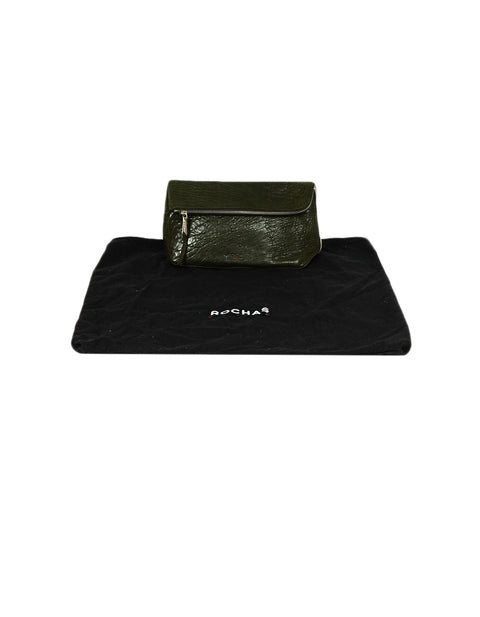 Rochas Dark Green Leather Zip Clutch