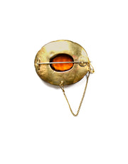 Scottish Antique Agate & Citrine Set in 15k Gold Brooch