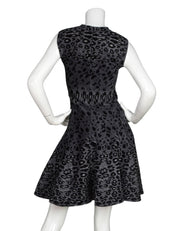 Alaia Sleeveless Grey Leopard Fit & Flare Dress Sz FR40