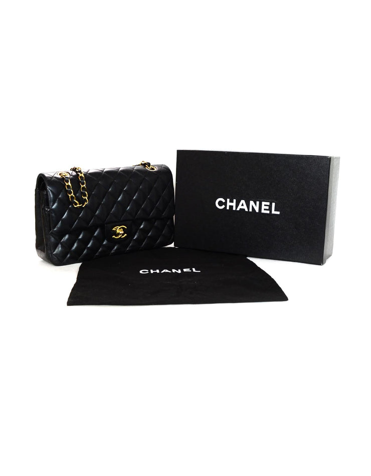 Chanel Black Lambskin Leather Medium Classic Flap Bag
