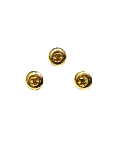 Chanel Goldtone CC Small Buttons (Set of 3)
