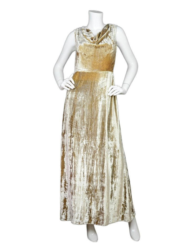 Co Beige Crushed Velvet Cowl-Neck Gown