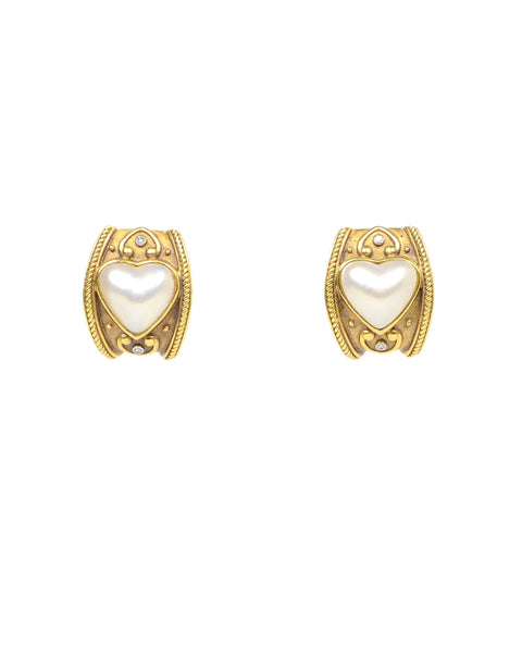 Vintage 18K Gold Clip On Earrings W/ Diamond & Pearl Heart