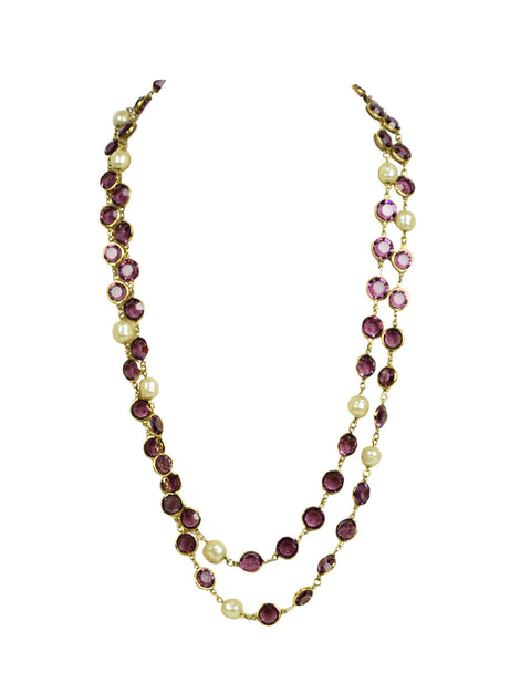 "Chanel 1981 Faux Pearl & Purple Crystal Sautoir 54"" Necklace"
