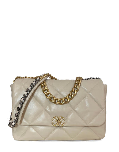 Chanel Beige Goatskin Leather Quilted Maxi 19 Flap Bag