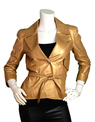 Chanel Gold Leather Single Button Jacket w. Belt FR38/ US 4-6