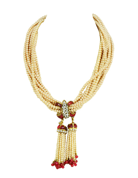 Chanel Vintage 1983 Faux Pearl Necklace w. Double Tassel
