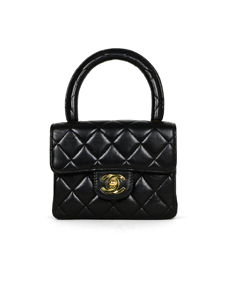 Chanel '90s Vintage Black Lambskin Leather Quilted Micro Mini Kelly Flap Bag