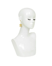 Chanel Goldtone CC Drop Earrings