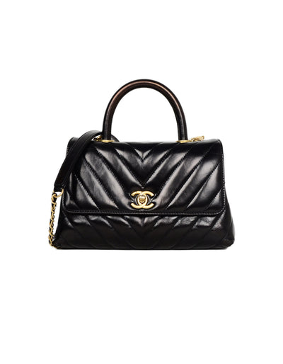 Chanel Black Shiny Calfskin Chevron Quilted Mini Coco Handle Kelly Style Bag