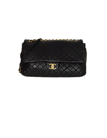 Chanel Black Calfskin Leather Airlines XXL CC Flap Bag