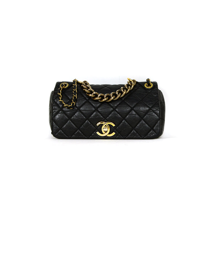 Chanel Black Calfskin Quilted Leather Medium Paris-Bombay Pondichery Flap Bag