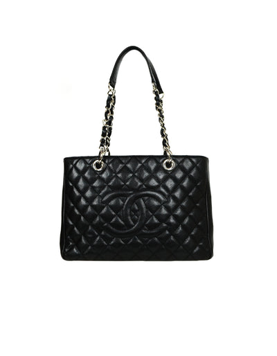 Chanel Black Caviar Leather Quilted Grand Shopper Tote SHW