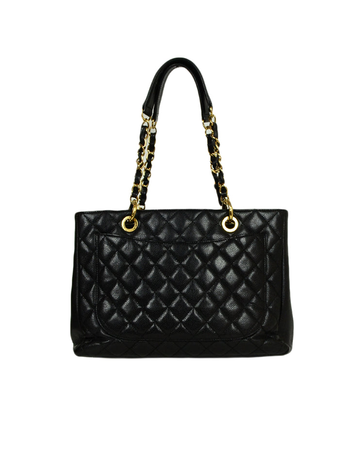 Chanel 2010-2011 Black Caviar Leather Quilted Grand Shopper Tote Discontinued Bag