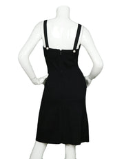Chanel Black Stretch Sleeveless Dress w/ Pearl Buttons sz 38