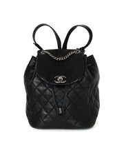 Chanel Black Lambkin Leather Quilted Backpack Bag w/ Antiqued Silvertone Chain