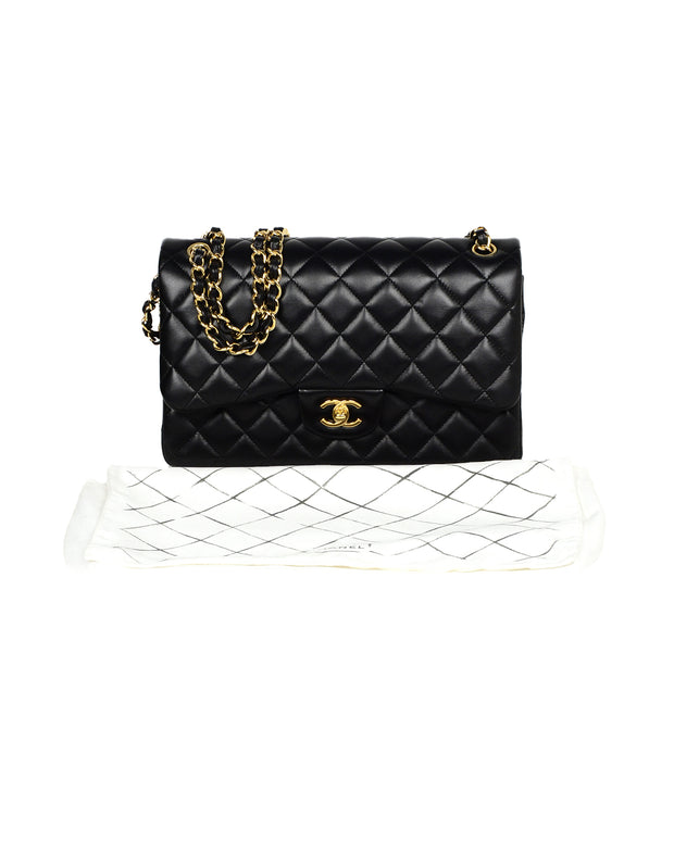 Chanel Black Lambskin Leather Quilted Double Flap Classic Jumbo Bag W/ GHW