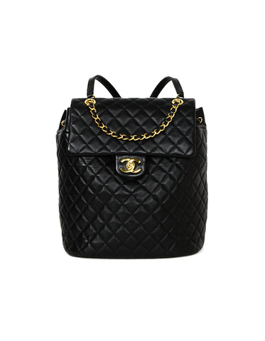 Chanel Black Lambskin Quilted Large Urban Spirit Backpack Bag
