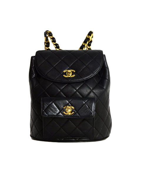 Chanel 1994-1996 Vintage Black Quilted Lambskin Leather Double CC Twistlock Backpack Bag