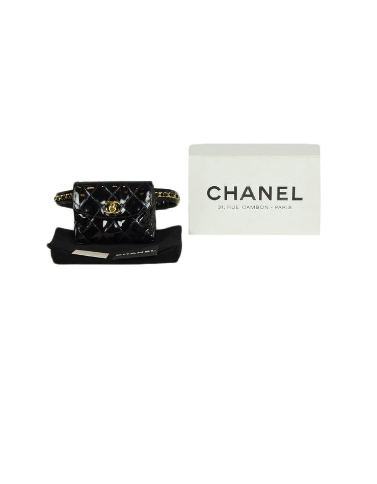 Chanel Black Patent Leather Quilted CC Twist-lock Leather Laced Belt Bag