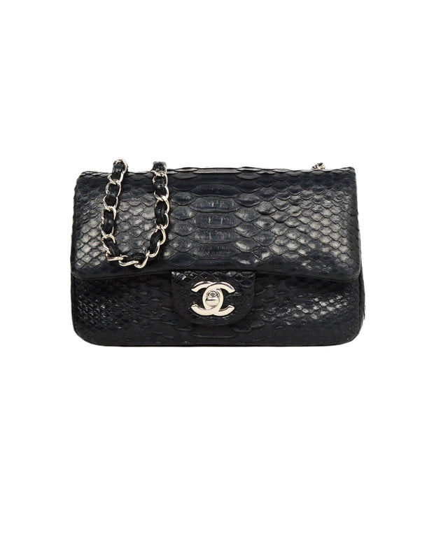 Chanel Black Python Classic Mini Flap Crossbody Bag