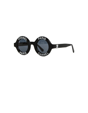 Chanel Vintage '90s Black Round Sunglasses w/ CHANEL PARIS