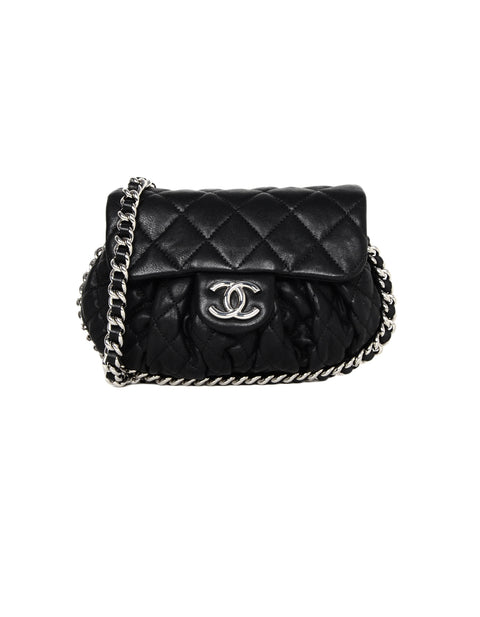 Chanel Black 2016-2017 Washed Lambskin Quilted Mini Chain Around Flap Crossbody Bag