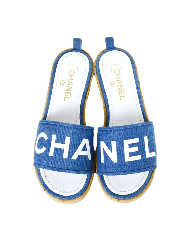 Chanel 2019 Blue Denim Logo Sandal Mules sz 39