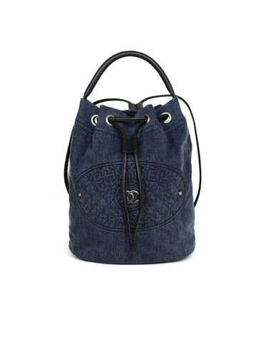 Chanel Blue Denim 2017 Drawstring Convertible Backpack Bucket Bag