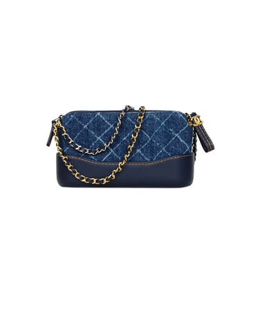 151ac665b1b6 Chanel 2018 Blue Denim Quilted Small Gabrielle Clutch with Chain Crossbody  Bag