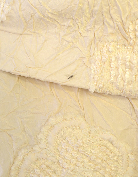 Chanel Cream Embroidered Brocade Jacket w/ Ruffle Collar