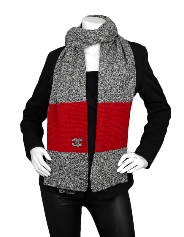 "Chanel Black & White Cashmere w/ Red Trim Knit 88"" Scarf w/ Puffy CC Detail"