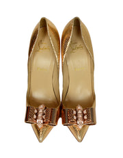 "Christian Louboutin Gold python ""Metal Nodo"" Crystal Bow Pigalle Heel Pumps sz 38"