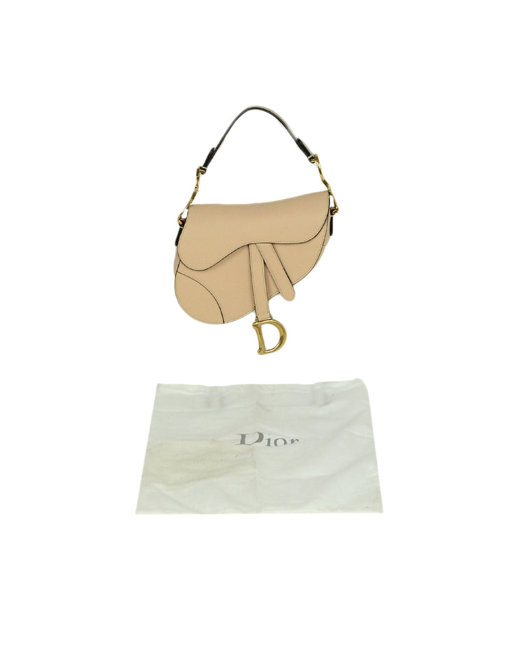 Dior Nude Calfskin Leather Mini Saddle Bag