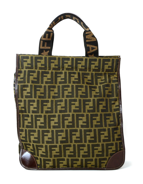 Fendi Vintage Tobacco Brown Canvas Zucca Tote Bag